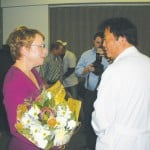 Cindy Lytle chats with Dr. Michael Chang, a Mercy physician who helped save her husband Walt's life. VIllage Life photo by Noel Stack