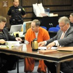 DAVID ZANON sits with his attorneys at the sentencing hearing. Mother Lode News photo by Pat Dollins