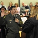 The Honorable Susanne N. Kingsbury administers the Oath Of Office to the new El Dorado County Sheriff John D'Agostini Monday at the board of supervisors hearing room in Placerville. Mother Lode News photo by Pat Dollins