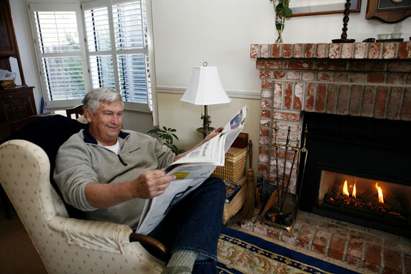 John Knight, 63, at home in El Dorado Hills, says that he likes to start the day with the Wall Street Journal. Mother Lode News photo by Shelly Thorene