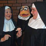 "Reverend Mother Sister Mary Regina (Connie Mockenhaupt), Sister Marionette and Sister Mary Amnesia (Monica Wright), left to right, chat during a scene from ""Nunsense,"" playing at Sutter Street Theatre. Photo by Allen Schmeltz"