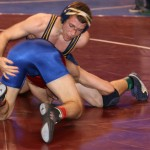 KEATON SUBJECK grabbles with his opponent during the quarter final round of the CIF State Championships. Courtesy photo