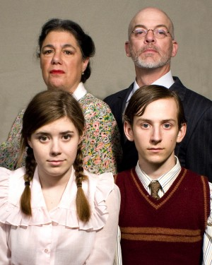 "SURVIVORS —"" Mrs. and Mr. Antrobus (Adrienne Sher and Steve Minow), along with their children Gladys (Holly Wilson) and Henry (Jacob Vuksinich) survive some harrowing experiences but never lose their humanity in Thorton Wilder's ""The Skin of Our Teeth"" presented by Falcon's Eye Theatre at Folsom Lake College's Three Stages. The pal opens March 25. Courtesy photo"