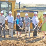 CLASS BEGINS — Larry Gualco for Lennar Communities, EDHCSD General Manager John Skeel, El Dorado County Superintendent of Schools Vicki Barber, Buckeye USD Board President Winston Pingrey, Mike McDougall with AKT Development and Buckeye USD Superintendent Terry Wenig dig up the first of many shovels full of dirt needed to construct the district's newest elementary school. Village Life Photo by Noel Stack