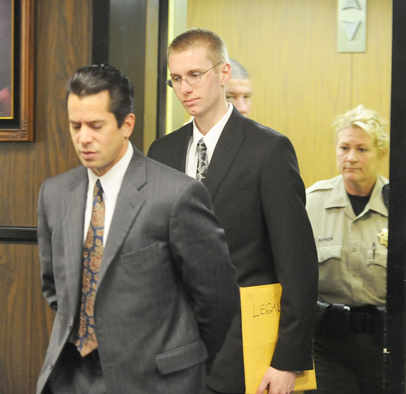 STEVEN COLVER, seen here with attorney Dain Weiner, took the stand at his murder trial.