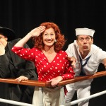 "VICKI LEWIS, center, stars as the fabulous Reno Sweeney in ""Anything Goes"" at Music Circus through July 31. Performing with LewIs are Jason Graae, left, and David Elder. Photo by Charr Crail"