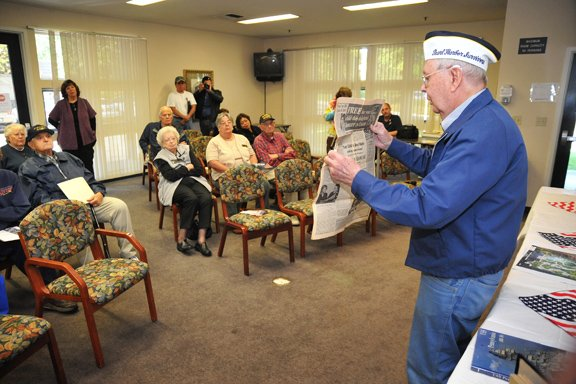 World War II veteran and Pearl Harbor survivor — 92-year-old Bill Klein talks to the guests at the El Dorado Hills senior center Thursday. Village Life photo by Pat Dollins