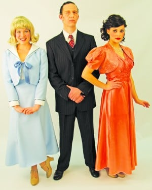 "Lucky Peggy Sawyer (Carly Speno), left, gets her big break from ""Pretty Lady"" director Julian Marsh (Matt Surges), center, when actress Dorothy Brock (Katherine Sorgea) breaks an ankle. EDMT's production of ""42nd Street"" opens Feb. 17. Courtesy photo"