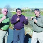 Beaver lovers Dick Parsons and Jerry Baldo, left and center, jokingly square off with fellow Four Seasons resident Ross Johnson, right, who feels that the so-called Grassy Creek beaver is destroying young Oaks and Sycamore trees growing behind his home in the popular El Dorado Hills active adult community. Village Life photo by Mike Roberts