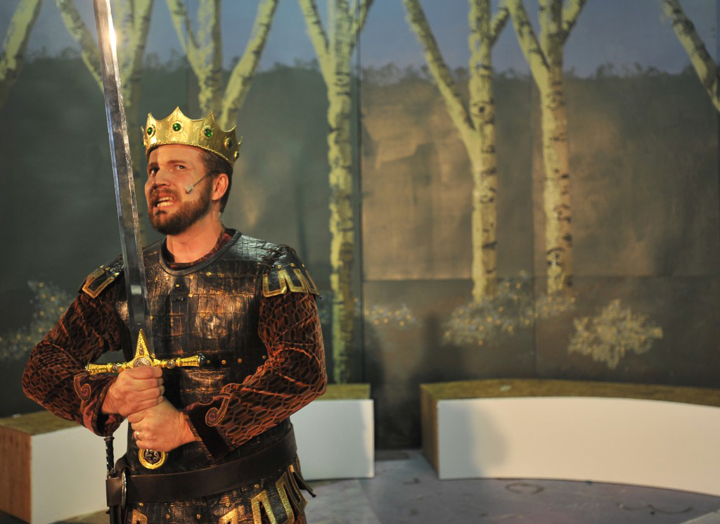 KING ARTHUR (Jeremy Carlson) suspects betrayal by his wife Guenevere with nemesis Lancelot in the musical 'Camelot' set to run at Imagination Theater in Placerville playing March 23 to April 15. Village Life photo by Krysten Kellum