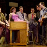 "The original Braodway cast of ""Million Dollar Quartet"" jams on stage. Photo by Joan Marcus"