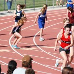 Marble Valley's Maeve Nave, far left, hands off to speedy anchor Hailey Magnilia in the girls 4 x 100 relay at the County Sports League end of the season track meet. Marble Valley ended up with a personal best 57.94 and took second place to Pleasant Valley. Courtesy photo