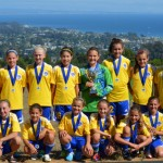 El Dorado Hills Thunder U12 girls soccer team celebrates its tourney win. Pictured with their medals are: back, left to right: Coach Steve Banks, Jessica Sanders, Abby LaComb, Madison Shepherd, Kendall Banks, Rachel Fong, Taylor Gann, Sydney Gunderson, Jessica Wedworth and Coach Steve Bonal; front, left to right: Lexie Likins, Kianna Bonal, Sophia Vardas, Emily Fagundes, Kelcie Bonal and, Brynn Thomas. Courtesy photo