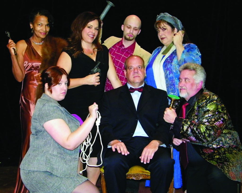 "A murderous bunch — Clockwise from center, actors Alan Price, Aerin Morneau, Gloria Jones, Teresa Ahnin, Drew Stuck, Monique McKisson and Paul Fearn star in ""Rehearsal for Murder"" at Chautauqua Playhouse. Photo by Warren Harrison"
