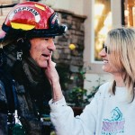 Rough day at the office — Then-Capt. Brad Ballenger enjoys a moment with his wife Laura after the 2005 Souza fire, which threatened the lives of firefighters when a portion of a tile roof collapsed. Ballenger went on to become a division chief with the El Dorado Hills Fire Department. He officially retires on Dec. 28, and plans to volunteer as a much-needed back-up chief.