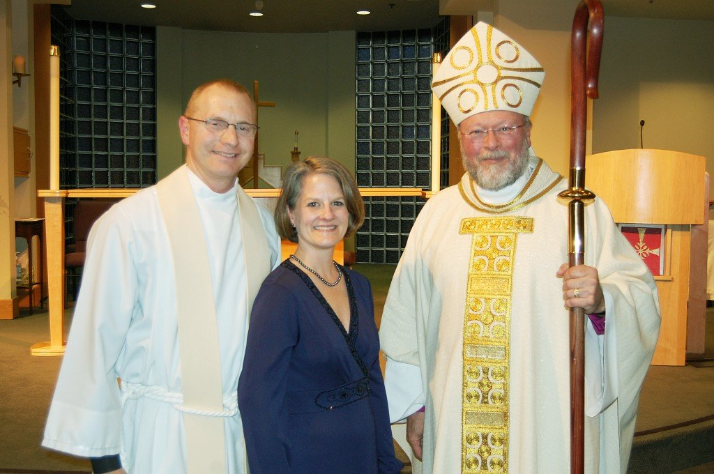 Rev. Dr. Sean Cox and his wife Kathy pose with Rt. Rev. Barry Beisner, Bishop of the Diocese of Northern California, at Father Cox' installation ceremony at Faith Episcopal Church in Cameron Park. Courtesy photo
