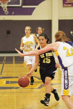 Oak Ridge guard Jenn Hoffman drives the ball down the court in las week's game agains Amador Valley. They varsity girls beat the No. 7 seed and then claimed a victory over Wilcox later in the week. Courtesy photo