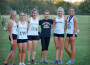 FIRST — The winning Lady Trojan cross country team from left: race winner Rachel Peterson, Arial Hendrickson, Mikhayla Polivka, Peyton Wright, Sarah Dolley, Briana Dulgar. Photo by Cindi Dulgar