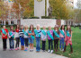 Girl Scouts do good — left to right, Lauren Rodenberg, Chloe Erickson, Brooke Black, Julia Bird, Kate Morgan, Emma Wise, Christina Lindblom, Reese Ferriman, Ryan Cummings, Shelby Green, Elizabeth Ramin and Nikki Spies gather outside the hospital where they dropped off waiting room bags. Not pictured,  Charli Gaal. Courtesy photo
