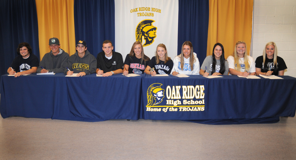 Signing at Oak Ridge High School are, left to right: Josh Wellman, Austin Root, Mickey Meinhofer, Jesse Goldstein, Ashley Patterson, Karly Dougherty, Kelly Hulsing, Ali Bettencourt, Caitlyn Olan and Lindsey Zito.  Village Life photo by Pat Dollins