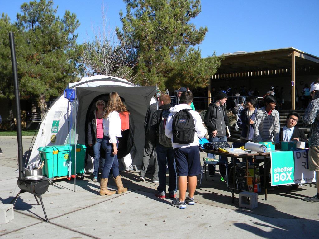 Oak Ridge students check out the ShelterBox tent during lunch. Village Life photo by Noel Stack