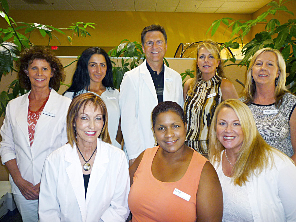 Get back to health with Doug Murray and his team. Back row, left to right: Terri (aesthetician); Rebecca (medical assistant); Doug Murray, DC (chiropractor); Myrnalyn (office manager); Janis (insurance). Front row, left to right: Angela (nurse); Glenda Goodwin MD (medical director); Christa (weight loss counselor). Courtesy photo