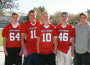 El Dorado Hills Jr. Trojans Bailey Smith, Jack Laing, Cameron Allie, Nate Otto, JT Eichorn, left to right, were selected to be on the 2013 Shrine Bowl Football Team. Courtesy photo