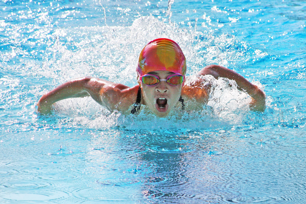 Taz swimmer Samantha Torres took in first place in the competition's first event Saturday — the 9-10 girls individual medley. Courtesy photo