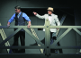 "George Bailey (Nathan Truka) gets ready to jump from a bridge when Clarence (Geoffrey Lack) finds him in ""It's a Wonderful Life."" Village Life photo by Shelly Thorene"