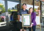 Beach Hut Deli Owner Steve Brown and Assemblywoman Beth Gaines pose outside the El Dorado Hills eatery. Village Life photo by Noel Stack