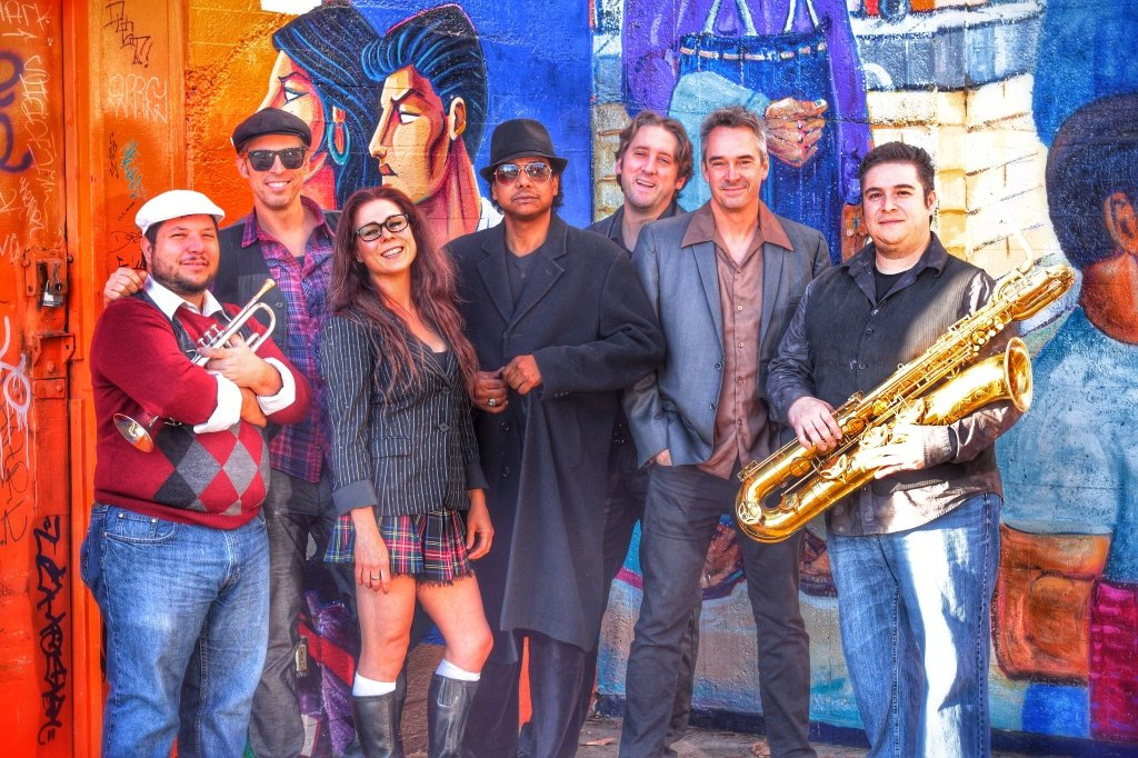 Joy and Madness brings a fresh and funky energy to Town Center this Thursday in another Live on the Boulevard free concert. Band members include Tony Marvelli, Hans Eberbach, Miss Nyxi, Bobby G, Jeremy Springer, Andrew Enberg, Raul Sandoval, left to right, and Tim Taylor, not pictured. Courtesy photo