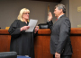 Judge Suzanne Kingsbury, left, swears in District 1 El Dorado County Supervisor John Hidahl. Village Life photo by Jackie Penn